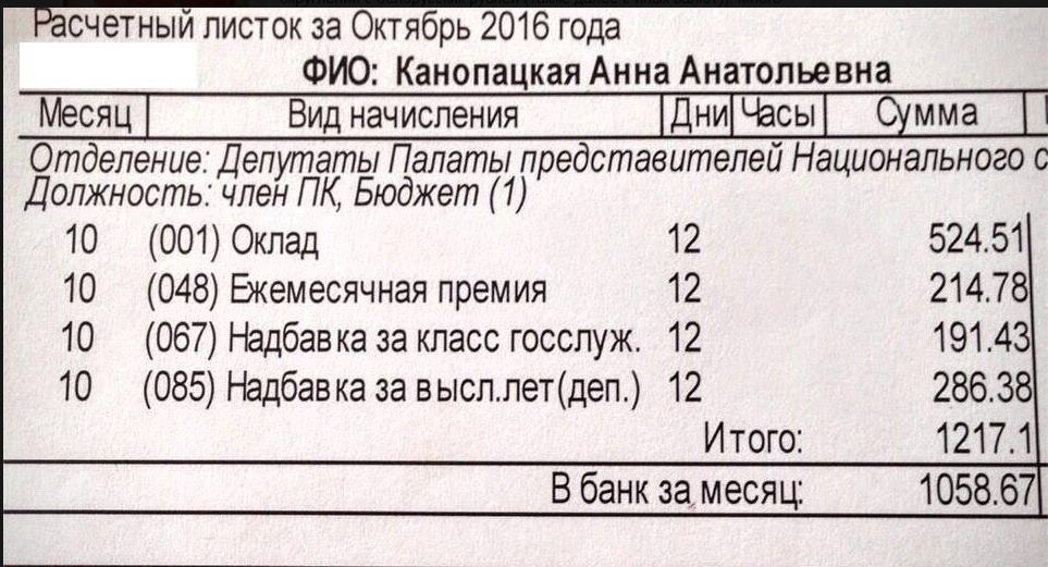 Депутат показала свою зарплату: за 12 дней больше 1000 рублей
