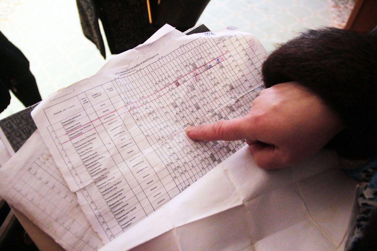 Бывшие работники предприятия показывают табель учета рабочего времени. Фото: Юрий ПИВОВАРЧИК