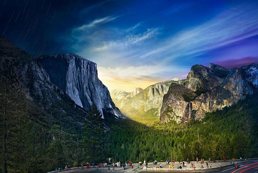 1036 фотографий Йосемитского национального парка за 26 часов съемок объединили в одну. Фото: STEPHEN WILKES, boredpanda.com