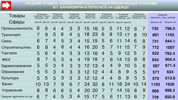 Средний уровень зароботной платы у работников разных отрослей в г. Барановичи в пересчёте на одежду