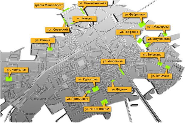 Схема расположения площадок для выгула собак в г. Барановичи