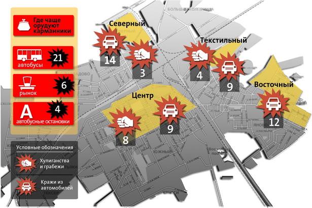 Микрорайоны г. Барановичи, в которых зафиксировано наибольшее количество краж из автотранспорта, хулиганств и грабежей (по данным Барановичского ГОВД за I квартал 2010 года)