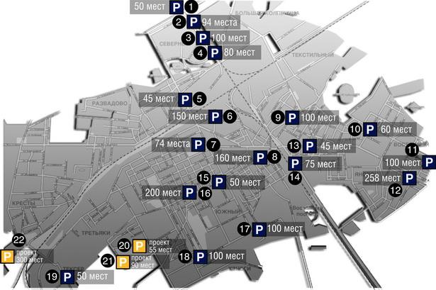 Схема платных автостоянок в городе по данным ОГАИ Барановичского ГОВД