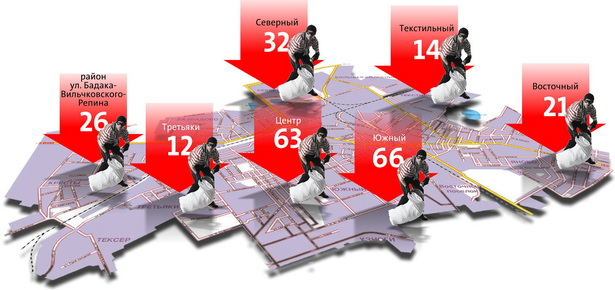 Сколько квартирных краж совершено в микрорайонах города (с января по август 2010 года)