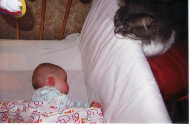 Катажина Добыш, 7 месяцев, и кот Володя. Усатый нянь