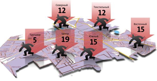 Количество грабежей в микрорайонах г. Барановичи (с начала 2010 г.  по апрель 2011 г.)
