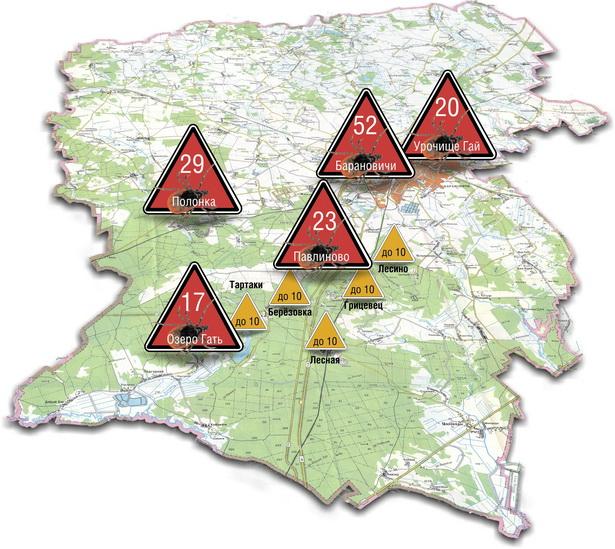 Карта мест, где в этом году клещи чаще всего кусали барановичских жителей  (по данным Барановичского зонального центра гигиены и эпидемиологии)