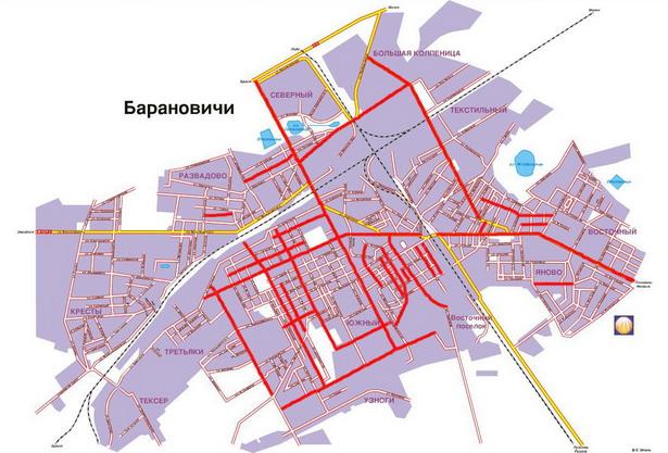 Красным цветом отмечены улицы, носящие «революционные» названия