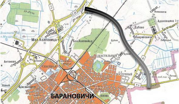 Схема строительства Автомобильной дороги Р-4 Барановичи-Ляховичи. Обход г. Барановичи