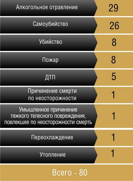 Причины гибели жителей г. Барановичи  от внешних факторов в 2011 году