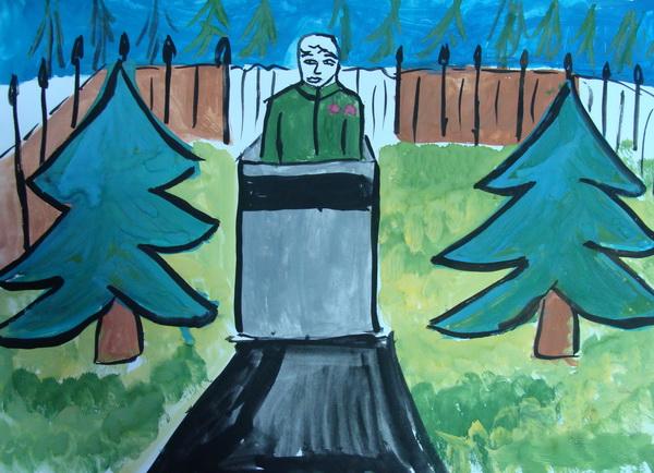 Бюст Сергея Грицевца, автор рисунка -- Марта Жилинская, 7 лет