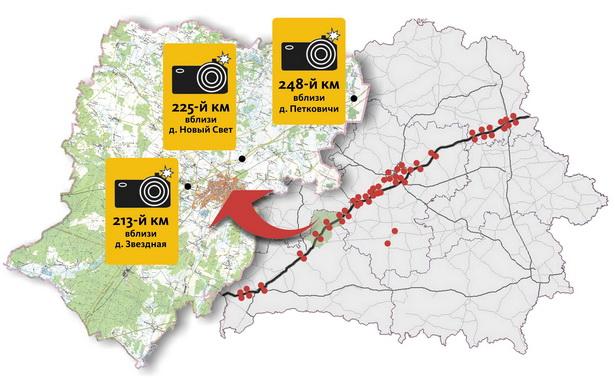 Карта расположения камер фотофиксации на трассе М1
