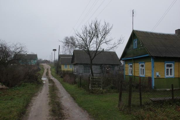 Адзіная вуліца вёскі Міхнаўшчына ранкам 7 лістапада.