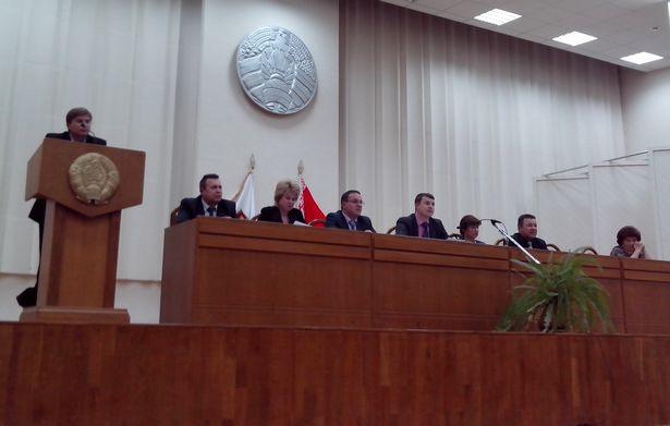 Президиум чиновников, большой зал Барановичского райисполкома, 26 ноября