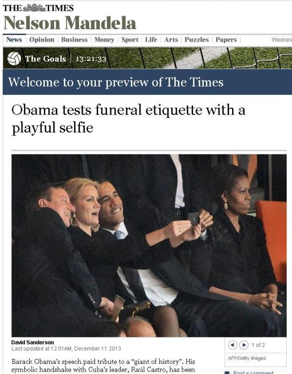 Фото смеющихся на панихиде по Нельсону Манделе премьер-министра Великобритании Дэвида Кэмерона, премьер-министра Дании Хелле Торнинг-Шмитт и президента США Барака Обамы на страницах газеты Tne Times