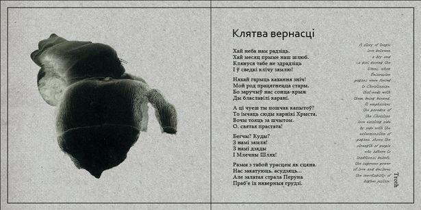 Один из разворотов буклета к альбому группы Like a Gossamer «Клятва верности». Графика Екатерины Филист