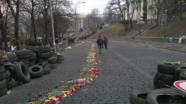 Кіеў, вул. Інстытуцкая, шлях з кветак