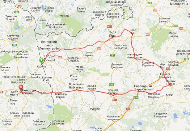Мапа вандроўкі з facebook.com падарожнікаў