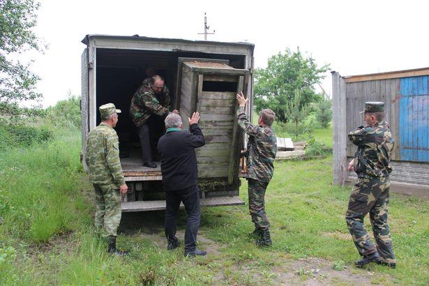 Машина для перевозки лосенка в Беловежскую пущу. Фото Александр Трипутько.