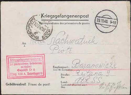 Паштовая картка палоннага польскага жаўнера ў Баранавічы, 1940 год