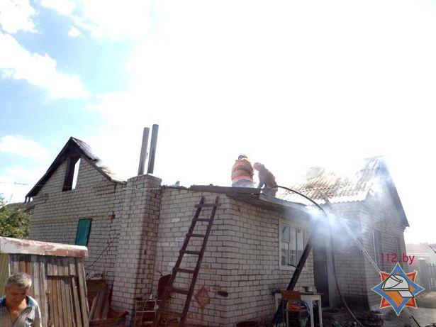 Пожар в деревне Столовичи на ул. Солнечной