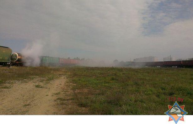 Водная завеса на месте аварии. Сайт МЧС http://mchs.gov.by