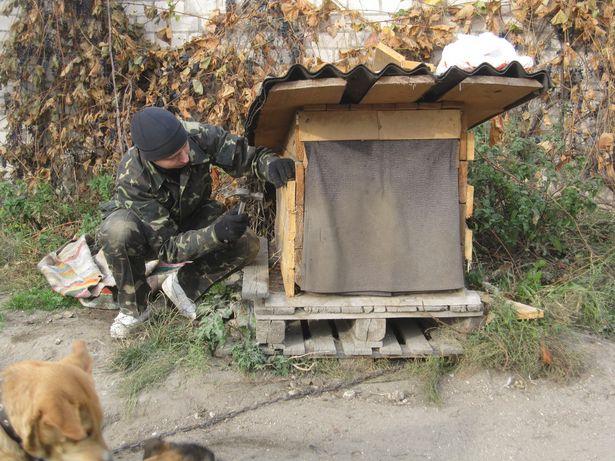 Александр Мирошник оббивает будку новыми досками. Фото: Ольга ШИРОКОСТУП