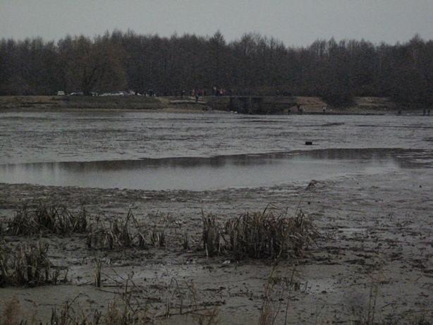 От водохранилища Мышанка остались только лужи. Фото: Татьяна НЕКРАШЕВИЧ.