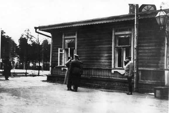 Мікалай II гутарыць з кіраўніком штаба Вярхоўнага Галоўнакамандуючага генералам ад інфатэрыі Янушкевічам каля флігеля