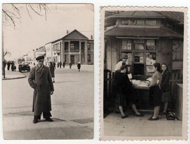 Вуліца Савецкая і газетны кіёск. Канец 1940-х. Здымак з калекцыі Руслана РАВЯКІ