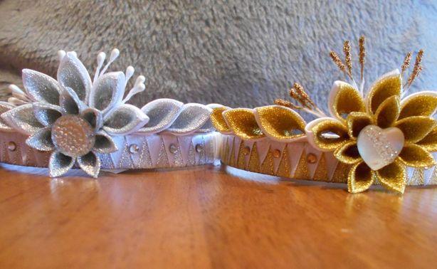 Короны, сделанные в технике канзаши. Фото из архива автора.