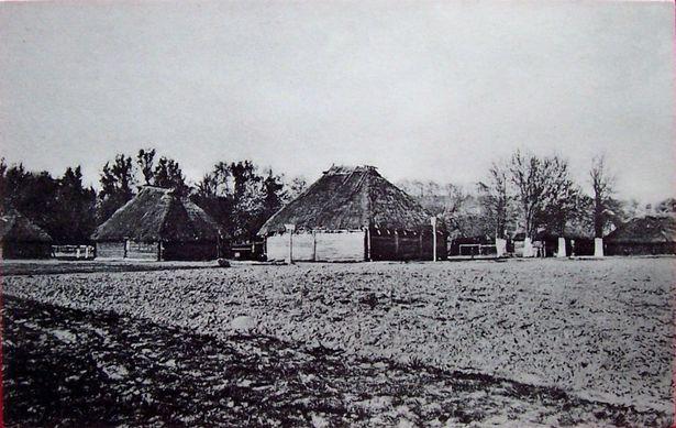 Вясковая вуліца ў в. Гацішча, жнівень 1917
