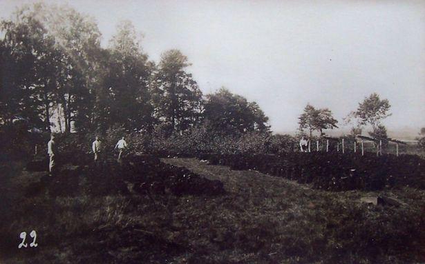 Нарыхтоўка торфу каля в. Гацішча жаўнерамі штурмавога атрада пяхотнай дывізіі. Жнівень 1917