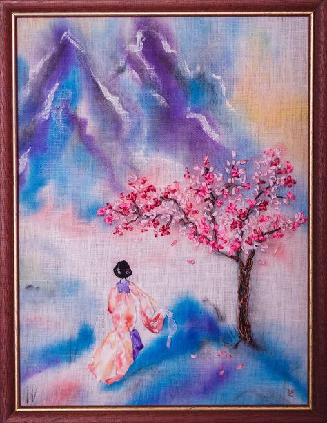 Картина Сакура. Вышивка лентами. Фото из архива автора.
