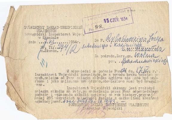 Ліст з Польскай страхавой кампаніі, 1934 г. Фота: з архіву Ігара МЕЛЬНІКАВА