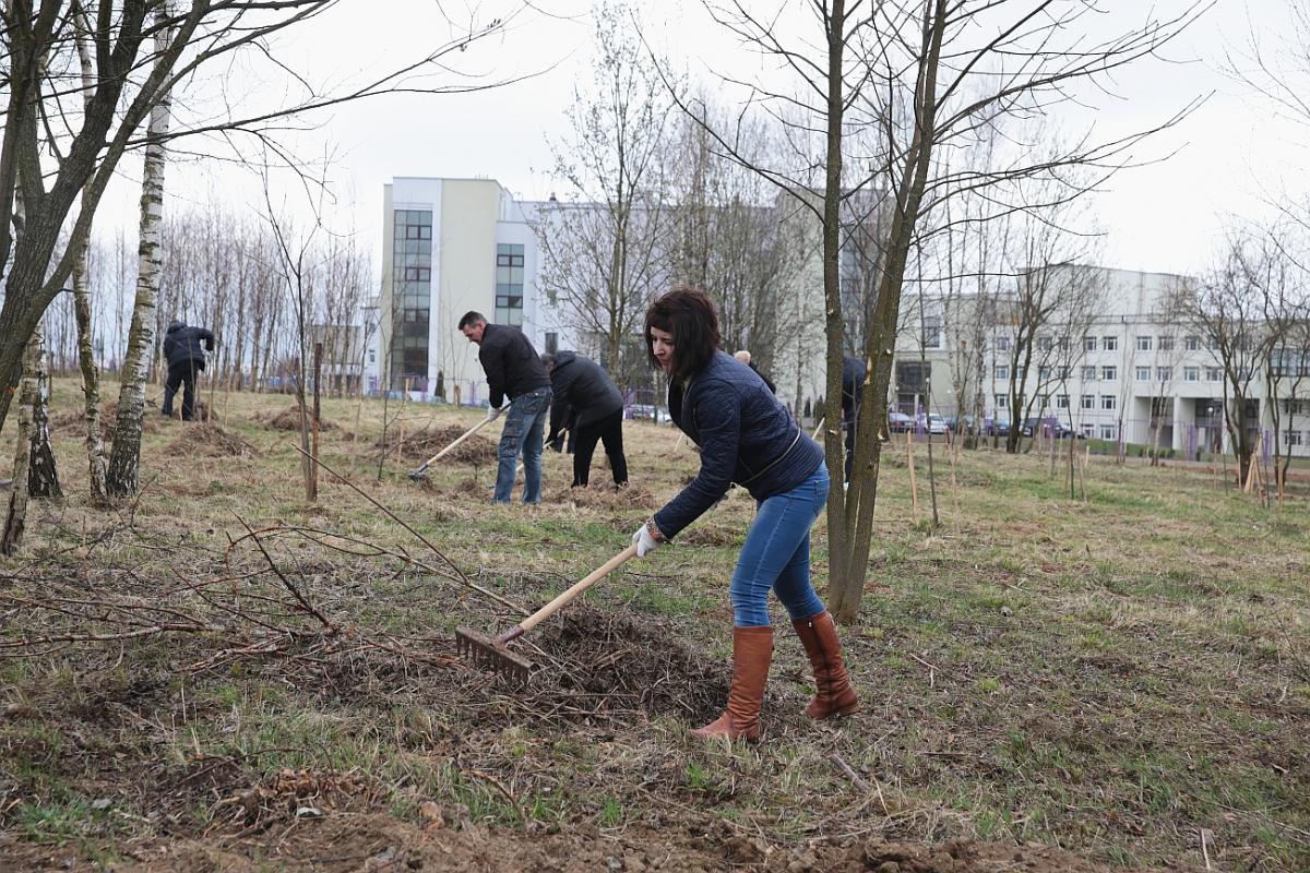 Возле Жлобинского озера трудились сотрудники горисполкома и представители городского Совета депутатов.