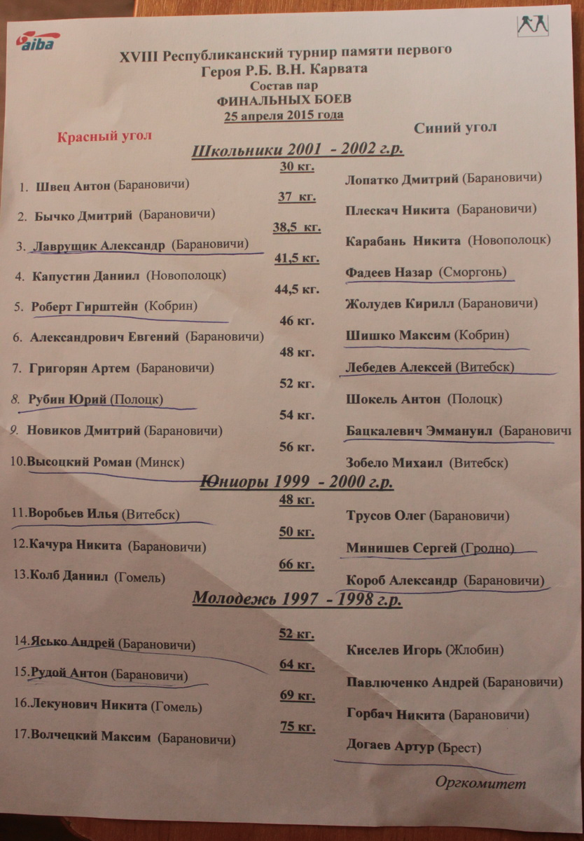 XVIII турнир по боксу памяти первого Героя Беларуси Владимира Карвата в Барановичах. Фото: Юрий ПИВОВАРЧИК