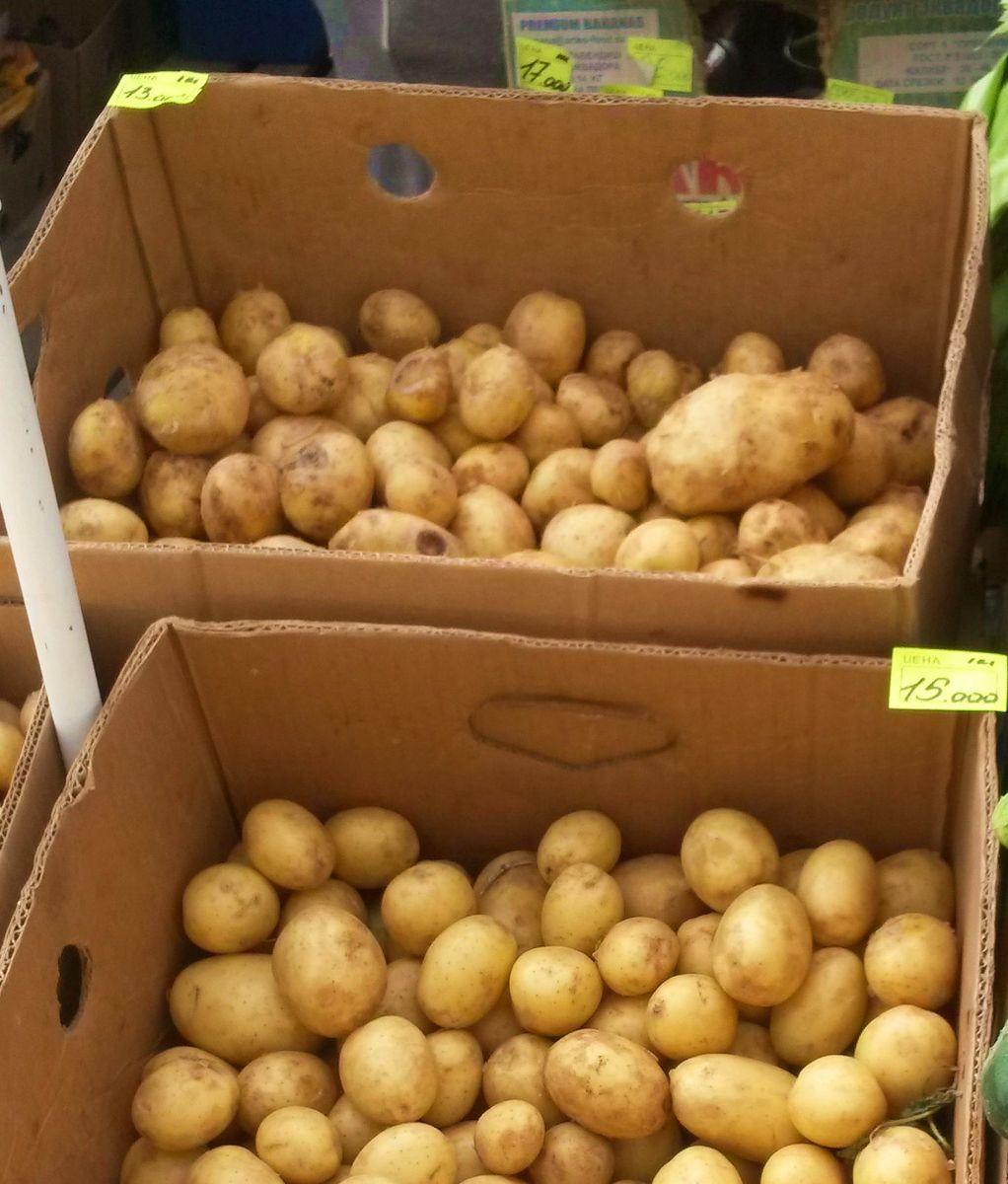 Белорусская картошка (снизу) привлекательнее, но дороже украинской.