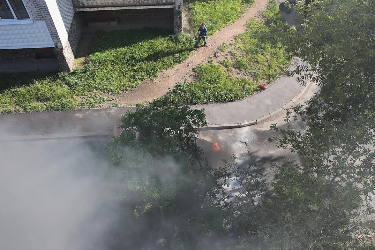 До приезда спецтехники МЧС водитель автомобиля самостоятельно пытался справиться с огнем.