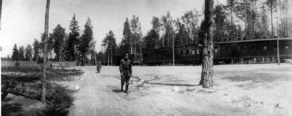 Император Николай II проходит мимо поезда в ставке Верховного главнокомандующего в Барановичах. 14.06.1915