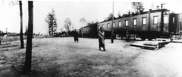 Император Николай II у поезда Верховного главнокомандующего в Ставке в Барановичах.  Март 1915