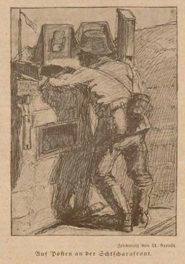 Жаўнер штурмавога батальёна (з газеты Deutsche Kriegszeitung von Baranowitschi)