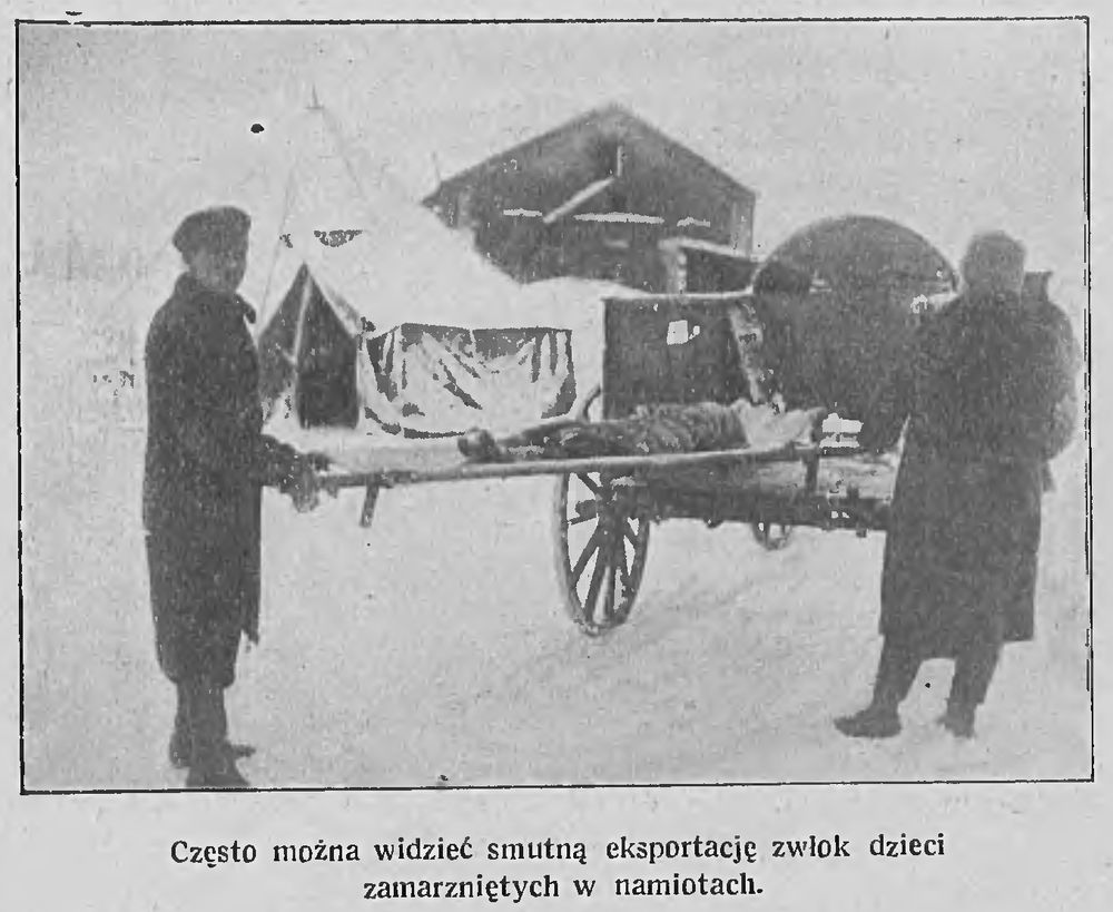 Часта можна бачыць, як выносяць замерзлых у намётах дзяцей. Фота: Tygodnik Illustrowany, 1922, №6
