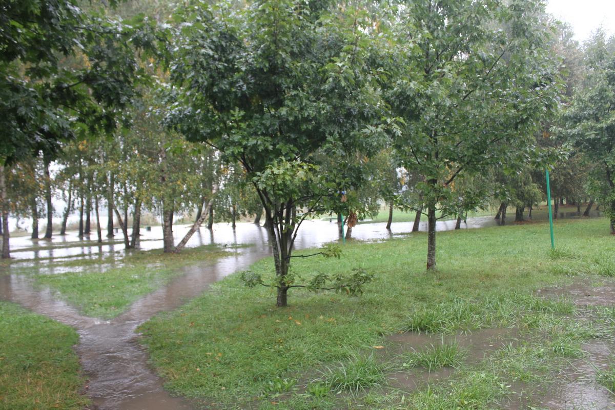 Зона отдыха возле Жлобинского озера после проливного дождя. Фото: Татьяна МАЛЕЖ.