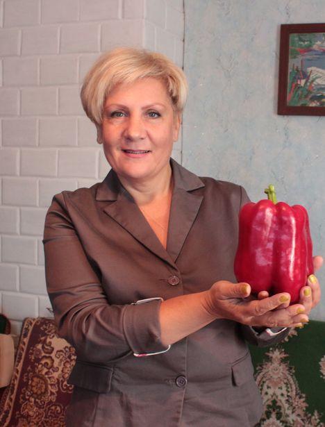 Корреспондент Intex-press Татьяна Некрашевич демонстрирует перец сорта Кардинал. Фото: Юрий ПИВОВАРЧИК.