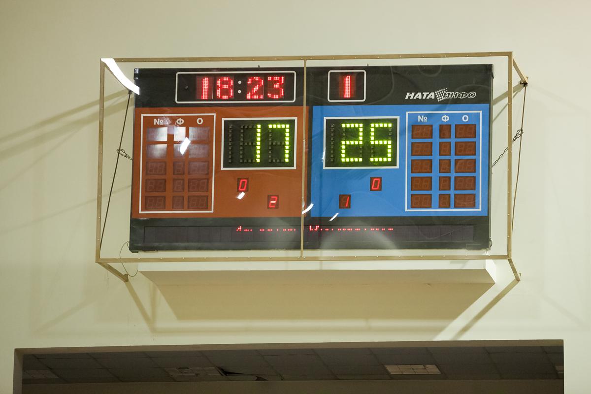 Матч Атлант - Минчанка. С таким счётом окончился первый сет. Фото: Александр Короб