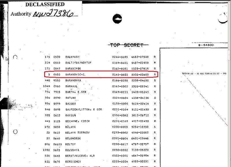 Барановичи находились в списке первоочередных целей США