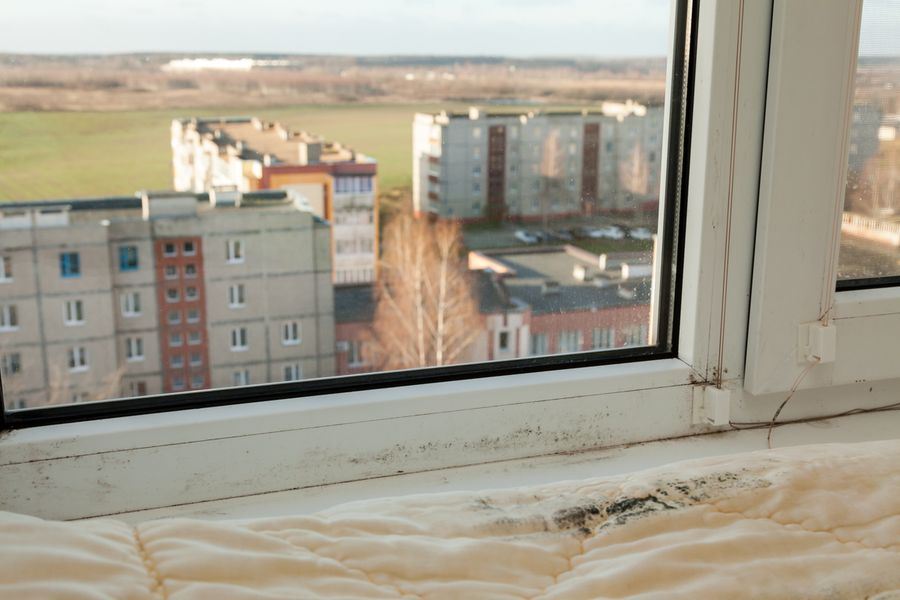 Из-за перепадов температур на окнах квартиры появилась плесень. Фото: Александр КОРОБ.