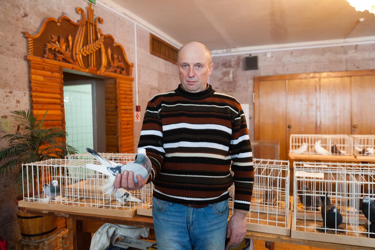 Председатель правления Клуба голубеводов и любителей декоративных птиц Владимир Кухарчик. Фото: Александр КОРОБ