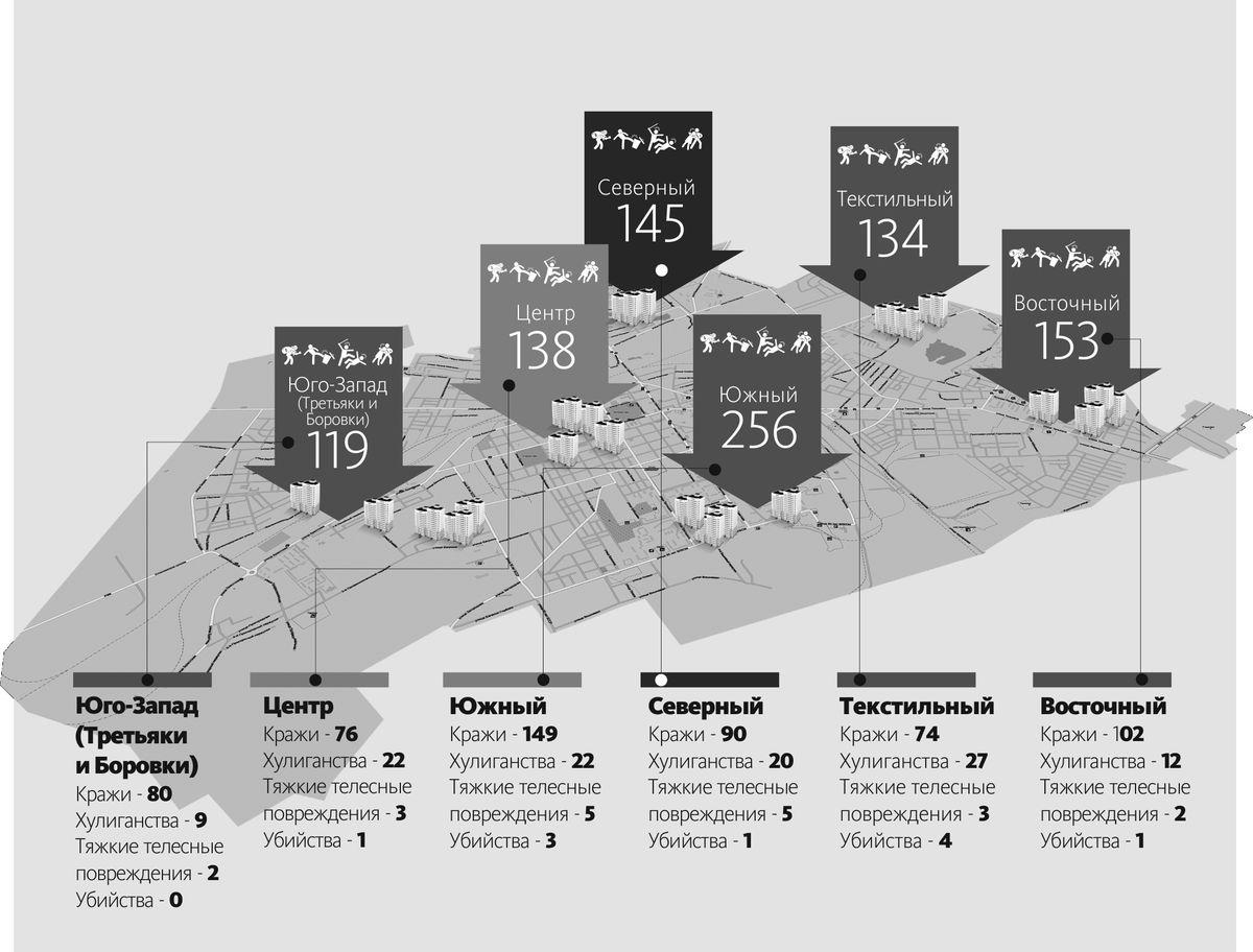 Карта преступлений в Барановичах, 2015 год